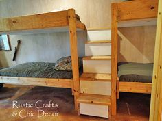 Hometalk :: My husband built these double bunk beds for our cabin to accommodate l…
