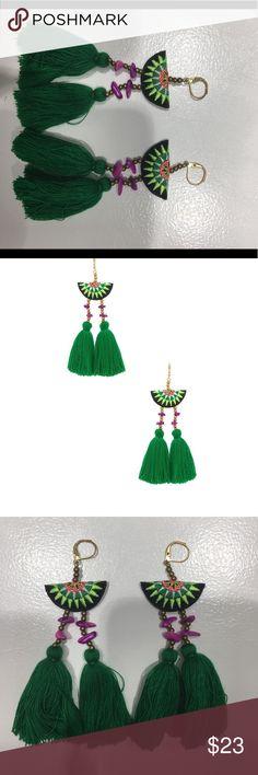Tassel earrings Green tassel earrings. Super light. Only worn a handful of times :) shashi Jewelry Earrings