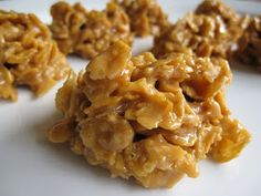 These are so yummy and so quick to throw together. -Kristin  1 c. sugar 1 c. light corn syrup 1/4 c. melted butter 1 c. peanut butter 6 c. c...