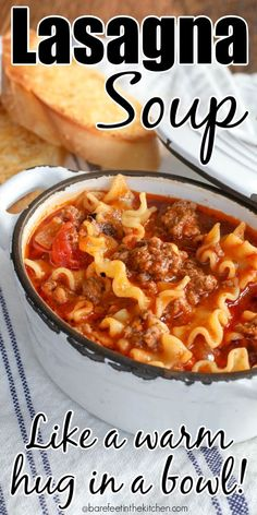 With spicy sausage, tender noodles and a melty cheese topping, this Lasagna Soup recipe has all your favorite Italian ingredients simmered together in one pot! More from my siteEasy Lasagna Soup Recipe Slow Cooker Recipes, Crockpot Recipes, Cooking Recipes, Recipes With Spicy Sausage, Kitchen Recipes, Easy Soup Recipes, Fall Recipes, Healthy Recipes, Dinner Recipes