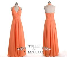 fall wedding ideas - orange halter neck long pleated bridesmaid dress, open back sexy full length bridesmaid gown TBQP199