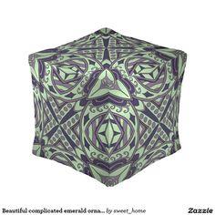 Beautiful complicated emerald ornament. pouf  Moroccan ornament for room make interior unique and add aesthetics sense. Ornament create in oriental tradition. #Home #decor #Room #accessories #Interior #decorating #Idea #Styles #abstract