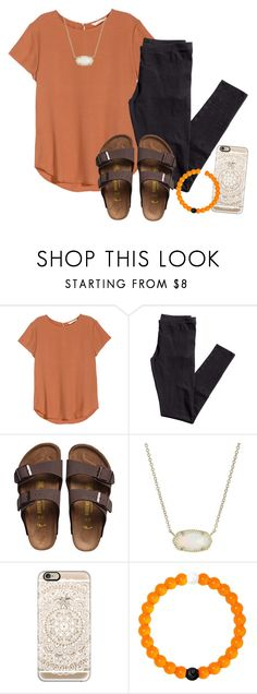 """;)"" by ellienoonan ❤ liked on Polyvore featuring H&M, Birkenstock, Kendra Scott, Casetify and Lokai"