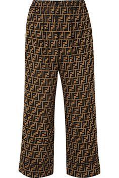 FENDI Cropped printed silk crepe de chine wide-leg pants