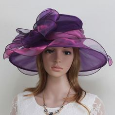 New Church Kentucky Derby Wedding Cocktai  Party Organza  Dress Hat 2967 Purple #KentuckyDerbyChurchWeddingDressHat