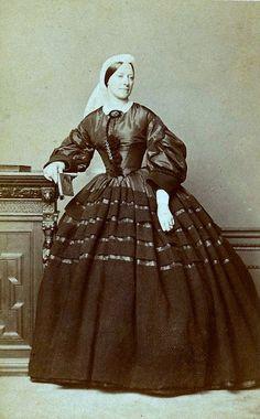 Widow at the Height of Fashion, English Albumen Carte de Visite, Circa 1863 |