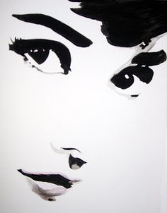Watercolor portrait of Audrey Hepburn by Teresa Markos..i want this on my house someday... :)