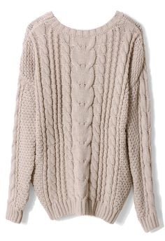 Ivory Cable Knit Sweater - Retro, Indie and Unique Fashion
