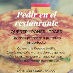 Pedir en el restaurante. Verbos querer, poner y traer. Tapas, Spanish, Beef, School, Food, Gastronomia, Learn Spanish, Restaurants, Health