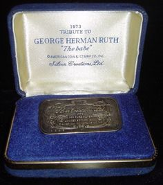 George Herman Ruth 1973 Tribute to The Babe One Ounce .999 Pure Silver Creations