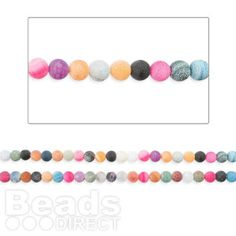 """£5.90 Multi Colour Weathered Agate Round 10mm Beads 15"""" Strand. Perfect for bright, summer necklaces!"""