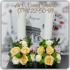Wedding https://www.facebook.com/ArtEventStudio/ #arteventstudio #candles #wedding #rossesbouquet