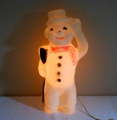 Vintage Borse Plastics Products Snowman with Broom Lighted Christmas Decoration Decorating With Christmas Lights, Christmas Decorations, Christmas Ornaments, Plastic Pipe Fittings, Light Works, Blow Molding, Vintage Looks, Vintage Christmas, Snowman