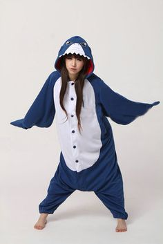 Blue Shark Onesies Hoodie Pajamas Animal Kigurumi | PajamasBuy