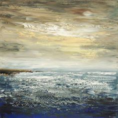 Abstract Seascape Original Palette Knife Painting by TatianasART