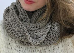 Heavy Clay Crochet Wool Blend Infinity Scarf Taupe