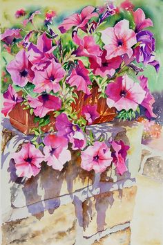 Petunias, watercolor by Joel Simon Watercolor Disney, Watercolor Artists, Watercolor Landscape, Watercolor Flowers, Watercolor Paintings, Watercolor Portraits, Abstract Paintings, Watercolours, Painting Art