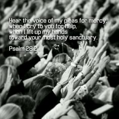 Hear the voice of my pleas for mercy, when I cry to you for help, when I lift up my hands toward your most holy sanctuary. - Psalm 28:2