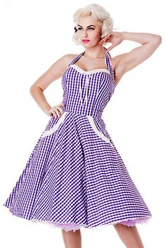 FairyGothMother - hb-charlottepurple Purple and white gingham fifties dress.