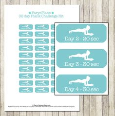 Fitness 30 day plank challenge printable planner stickers for Erin Condren Lifeplanner Filofax Plum Planner scrapbook / INSTANT DOWNLOAD (1.95 USD) by FaryePlans