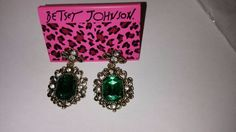 $1.00 Betsey Johnson Emerald green earrings Baroque style USA Seller  #BetseyJohnson #pierceddangles