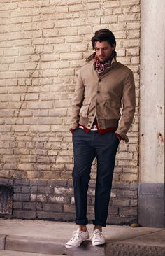 A1 Flight Bomber, Merino Cardigan  Pin Stripe Ringer Crew, James Trouser, Perry Scarf from Club Monaco