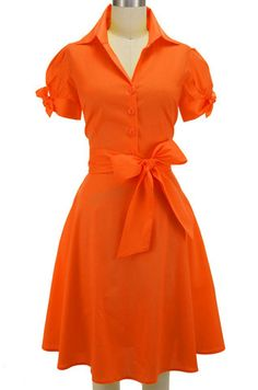 tie sleeve lucy day dress - orange