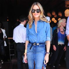 Olivia Palermo, chic in double denim Denim On Denim, Denim Look, Denim Skirt, Fringe Skirt, Waisted Denim, Denim Style, Jean Skirt, Blue Denim, Trend Fashion