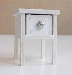 White bedside table with drawer wooden by EveryDollsDream on Etsy