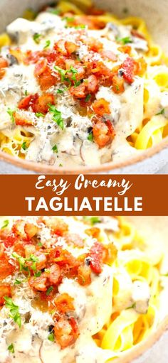Easy Creamy Homemade Tagliatelle mushrooms and bacon recipe - quick to make, perfect for a weeknight dinner. Bacon Recipes Quick, Bacon Recipes For Dinner, Italian Dinner Recipes, Healthy Pasta Recipes, Delicious Recipes, Easy Recipes, Popular Recipes, Yummy Food, Yummy Noodles