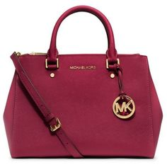 Michael Michael Kors Cherry Jet Set Medium Satchel (€305) ❤ liked on Polyvore featuring bags, handbags, cherry, leather tote handbags, tote handbags, leather purse, red purse and tote purse