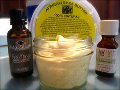 Homemade Eczema Cream - 5 ounces Shea butter (pure, unrefined) 3 ounces Avocado oil OR coconut oil 20 drops of Lavender essential oil 20 drops of Tea tree essential oil