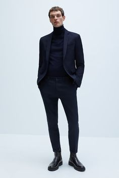 Featuring front pockets, rear jetted pockets, turn-up hems and zip fly and top button fastening. HEIGHT OF MODEL: 189 cm. Men Trousers, Slim Fit Trousers, Trouser Suits, Cuffed Pants, Cropped Pants, Mens Boots Fashion, Mens Fashion Suits, Turtleneck Suit, Jogging