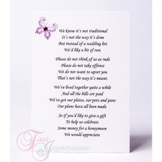 No Wedding Gift List Poem : Wedding Invites on Pinterest Heart wedding invitations, Wedding ...