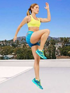 Stand with feet hip-width apart and lunge backward with right leg, bending both knees 90 degrees. Pressing off left foot, drive right knee up toward chest and swing left arm forward as you leap upward vertically. Land on left leg and immediately step right leg back into lunge position. Continue for 30 seconds (or 15 reps), then switch sides and repeat for 30 seconds.