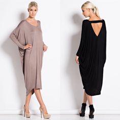 Metaphor Dolman sleeve dress Taupe and black L Dresses Midi