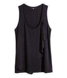 Draped Jersey Top - Black - H&M (Sale $10)