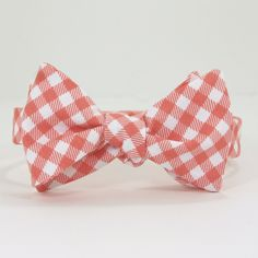 Coral Gingham Bow Tie. $40.00, via Etsy.