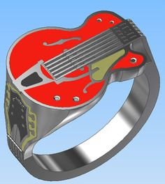 Gretsch style electric guitar ring. $129.00, via Etsy.