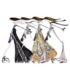 Ilustración Poco diseño alternativo de ropa a mano del ilustrador de moda, consultor de diseño: Christina Coniglio