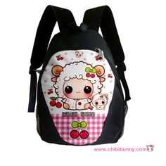 Kawaii sheep and cute cherries - Backpack - BP14   ChibiBunny - Bags & Purses on ArtFire