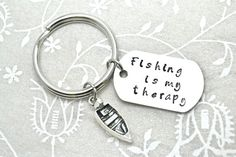 Stamped Keychain Fishing Keychain Fishing Gift by BeautyInBaubles