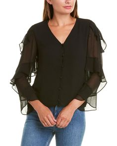 Types Of Sleeves, Sleeve Types, Black And Navy, Black Blouse, Vince Camuto, Color Patterns, Stuart Weitzman, Luxury Fashion, Model