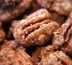 Cinnamon Sugared Pecans. At the SLC airport there is a place that sells stuff like this, and the smell is to die for. And since first sniff I've wanted to make some...