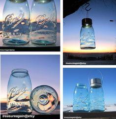 Wavy Blue Glass Lights 2 Hanging Mason Jar Solar Lights, Antique Blue Ball Mason Jar Lanterns, Outdoor Garden Art Decor via Etsy, treasureagain@Etsy