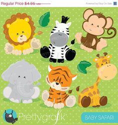 Baby Safari Animals clipart great for nursery themes and baby showers #babyshower #partytheme #babyanimals