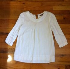 COMPTOIR DES COTONNIERS Ivory 3/4 Sleeve Silk Pullover Top Sz 6 US/ 40 ITA