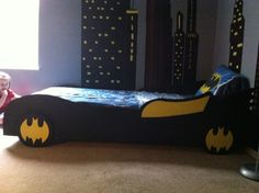 Davids Batman room., I just got down with my nephews bedroom. It is a batman room with a bat cave and the bat mobile bed. , My honey and I also made the bed., Boys Rooms Design