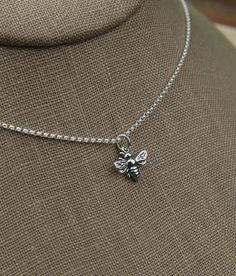 Small bee necklace in sterling silver bee by jersey608jewelry