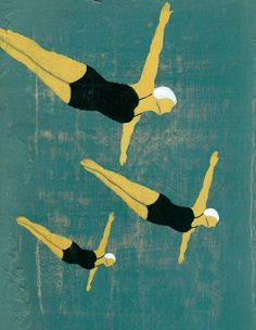 ∴ Trios ∴ the three graces & groups of 3 in art and photos - James Steinberg - Three Divers Art Et Illustration, Graphic Design Illustration, Graphic Art, Vintage Swim, Inspiration Art, Art Graphique, Illustrations And Posters, Art Design, Vintage Posters